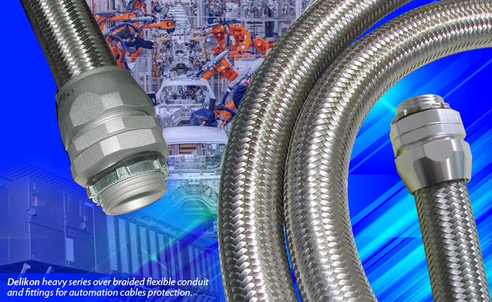 Delikon, experts in the manufacture of heavy series over braided flexible conduit and fittings for industry automation power and data cables protection. Our flexible conduit systems offer reliable cable protection solutions for PLC, sensors, machining centers, industry robots and other demanding industrial applications.