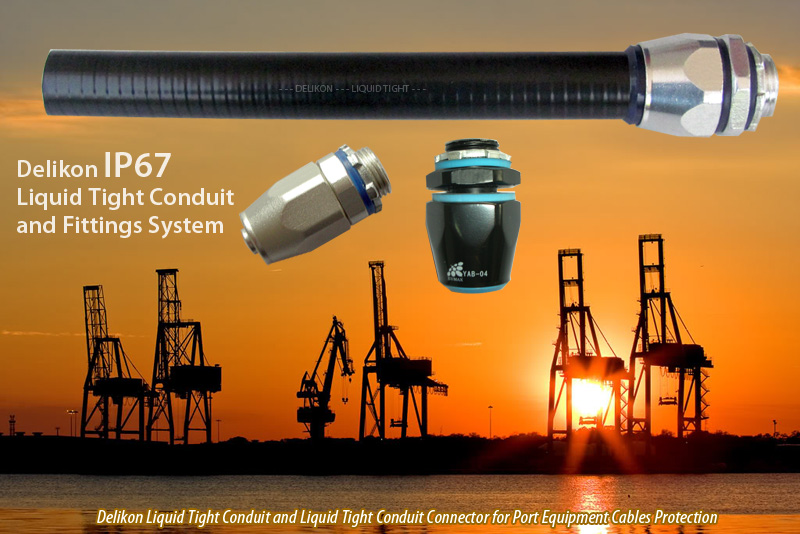 Delikon IP67 Liquid Tight Conduit and Liquid Tight Conduit Connector for Port Equipment Cable Protection