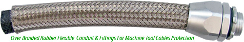 Over Braided Rubber Flexible Conduit and Conduit Fittings For Machine Tool Cables Protection