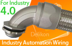 Delikon heavy series over braided flexible conduit and connector are specifically designed to protect Industry 4.0 power, control and instrumentation cable.