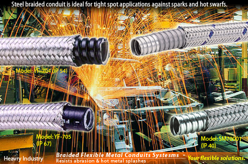 Steel braided flexible conduit is ideal for tight spot applications where high protection is required against sparks and hot swarfs.