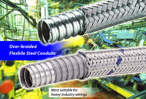 Braided flexible metal conduit for industry wirings