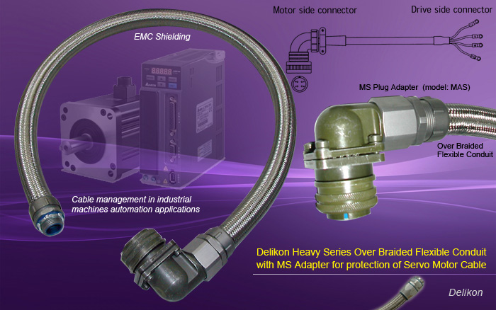 Delikon Heavy Series Over Braided Flexible Conduit with MS Adapter protects Servo Motor Cable