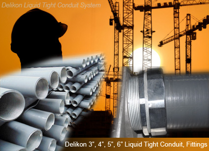 Delikon produces a whole range of big size metal liquid tight conduit and liquid tight fittings to meet your cables protection requirement in big construction and engineering projects.
