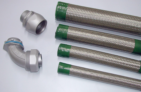 connectors for braided flexible electrical conduit systems rh semiconduits com Flexible Wiring Braiding Flexible Electrical Wire in Conduit
