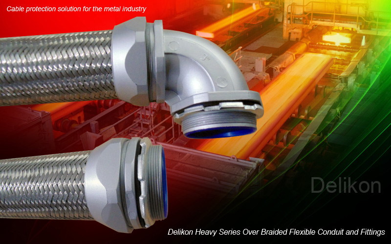 Delikon heavy series over braided flexible conduit and fittings,heavy series flexible sheath for metal industry