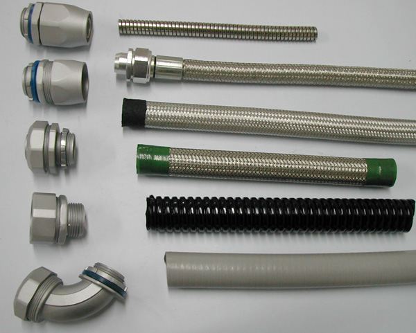 Flexible conduit connectors and fittings