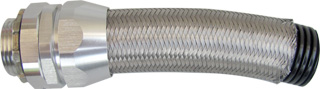 Over Braided Corrugated Nylon Flexible Conduit & metal fittings for industry control cables