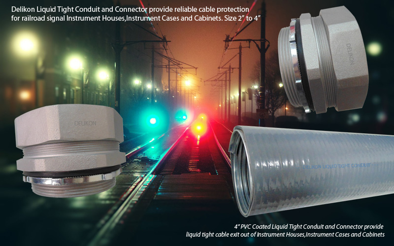 Delikon Liquid Tight Conduit and Liquid Tight Connector provide reliable cable protection for railroad signal Instrument Houses,Instrument Cases and Cabinets