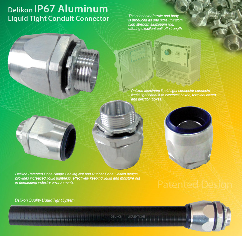 Delikon liquid tight conduit aluminum fittings for use with Metal Liquid Tight Conduit or Non Metallic Liquid Tight Conduit (LFMC & LFNC). Male or Female Threads : G, PF, PG, METRIC, NPT, PT