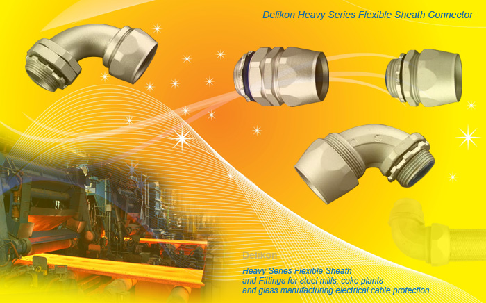Heavy series over braided flexible conduit fittings